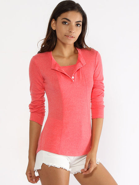 Henley Collar Single Breasted Plain Long Sleeve T-shirt - Bychicstyle.com