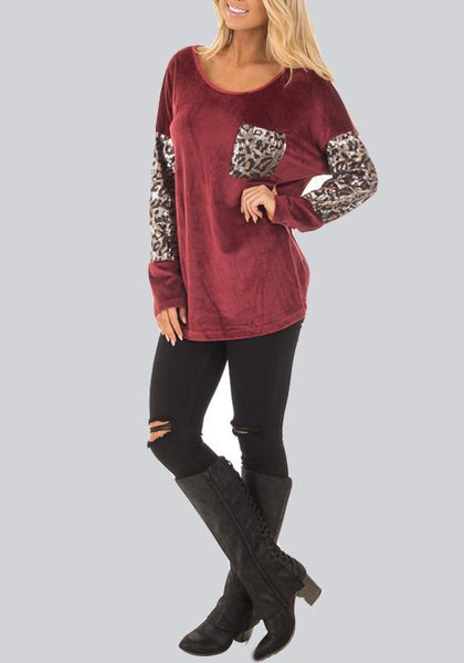 Red Patchwork Leopard Sequin Pockets Round Neck Long Sleeve Fashion T-Shirt