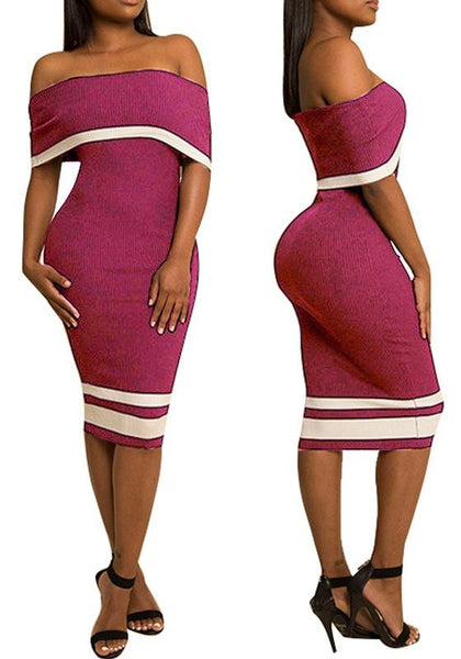 Rose Carmine Striped Backless Off Shoulder Short Sleeve Bodycon Party Midi Dress
