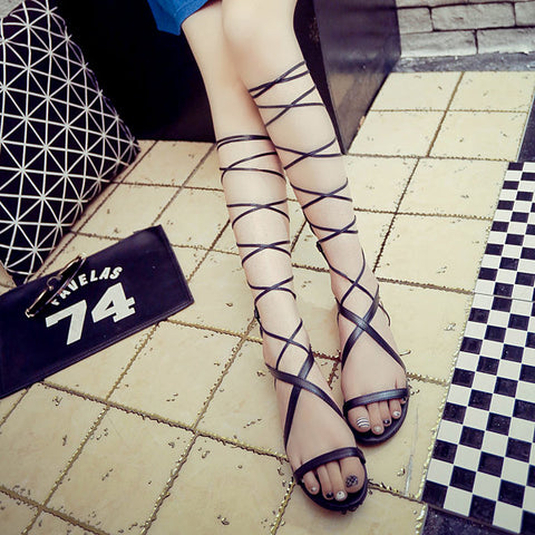 Casual Black Strappy Bandage Lace Up Peep Toe Flat Roman Gladiator Sandals