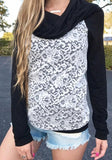ByChicStyle Black Patchwork Lace Collarless Casual Pullover Sweatshirt