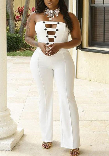 White Buttons Cut Out Off Shoulder Backless Party Wide Leg Long Jumpsuit