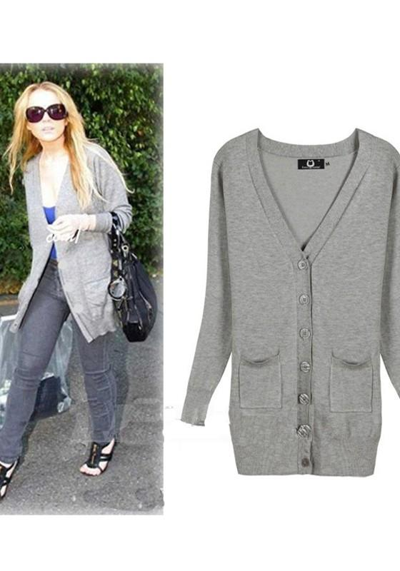 Light Grey Pockets Single Breasted V-neck Long Sleeve Cardigan Sweater