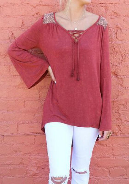 Red Plain Cut Out V-neck Casual Cotton T-Shirt