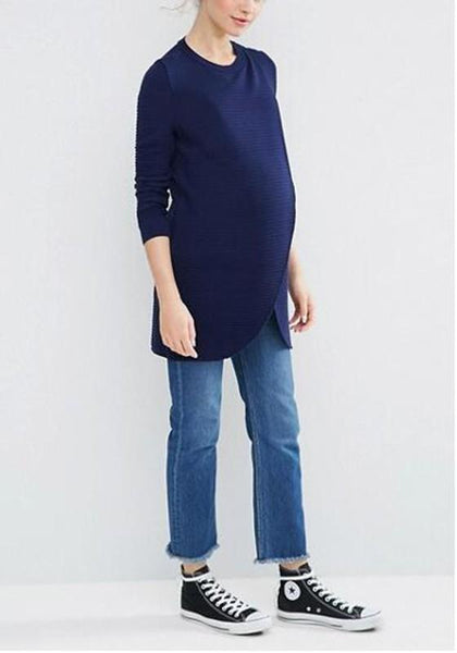 Dark Blue Irregular Slit Maternity Long Sleeve Pullover Sweater