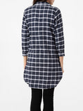 ByChicStyle Turndown Collar Single Breasted Plaid Printed Blouse - Bychicstyle.com