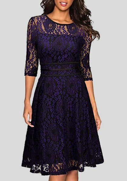 Purple Flowers Double-deck Lace Round Neck Elbow Sleeve Midi Dress