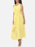 ByChicStyle Casual Plain Bowknot Awesome Round Neck Maxi Dress