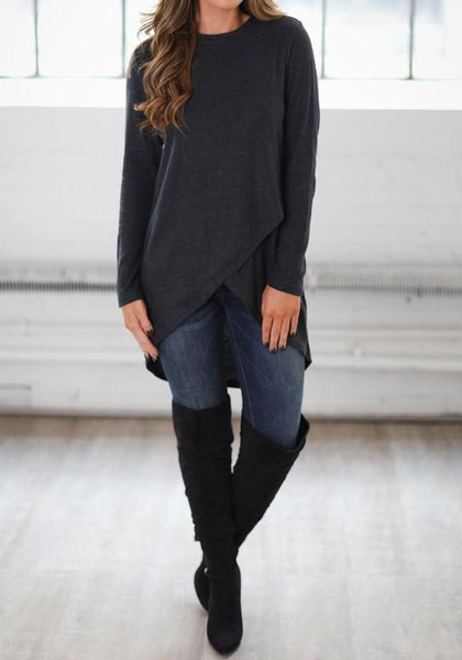 Dark Grey Irregular Round Neck Long Sleeve Casual T-Shirt