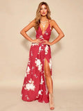 ByChicStyle Bohemia Floral Spaghetti-neck Split-side Maxi Dress