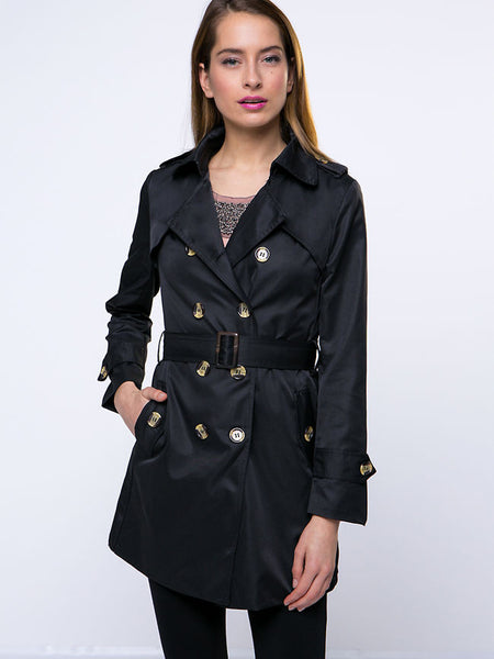 Lapel Breasted With Pockets Trench Coat - Bychicstyle.com