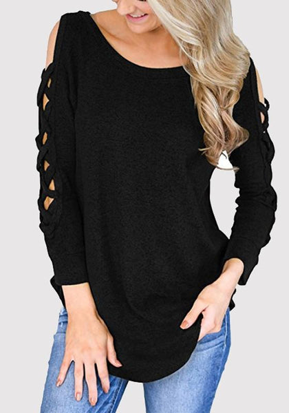 Black Cross Cut Out Double Slit Going out Casual T-Shirt