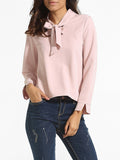 ByChicStyle Loose Fitting Bow Collar Dacron Plain Blouse - Bychicstyle.com