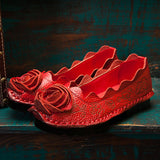 ByChicStyle Casual Handmade Rose Pattern Stitching Soft Casual Flat Loafers