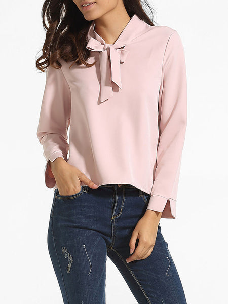 Loose Fitting Bow Collar Dacron Plain Blouse - Bychicstyle.com