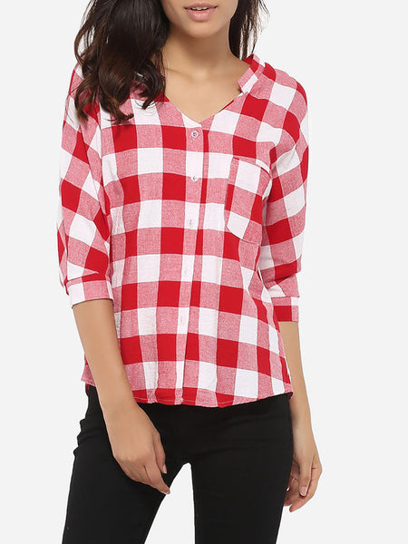 Loose Fitting Pockets Single Breasted V Neck Cotton Plaid Blouse - Bychicstyle.com