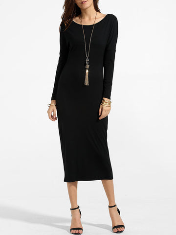 Casual Batwing Round Neck Knit Plain Maxi-dress