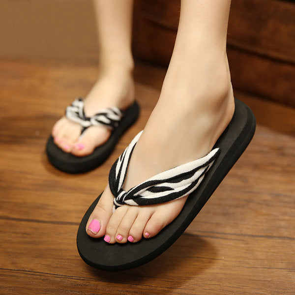 Casual Candy Color Ribbon Dot Clip Top Flip Flops Outdoor Beach Flat Slippers