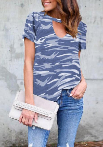 Grey Camo Print Cut Out V-neck Casual T-Shirt
