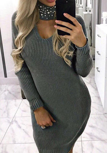 Grey Pearl High Neck Fashion Pullover Sweater