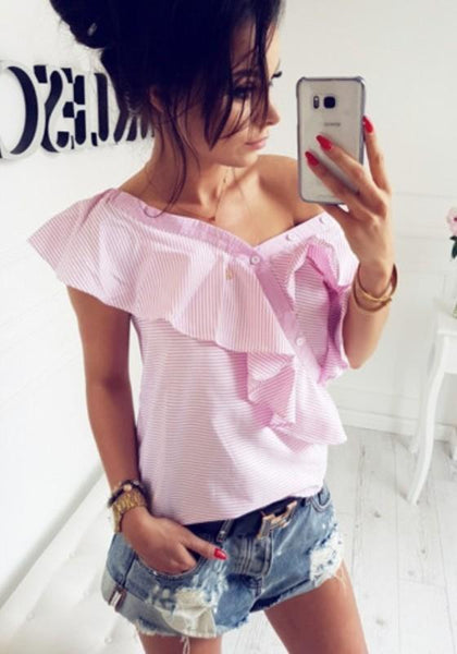 Pink Striped Studded Asymmetric Shoulder Peplum Fashion Blouse