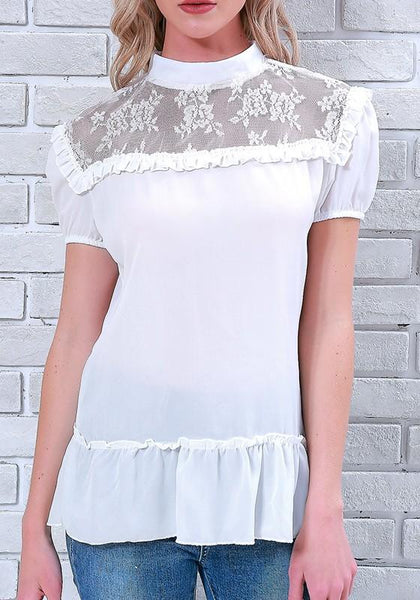 White Patchwork Ruffle Lace Band Collar Round Neck Short Sleeve Blouse