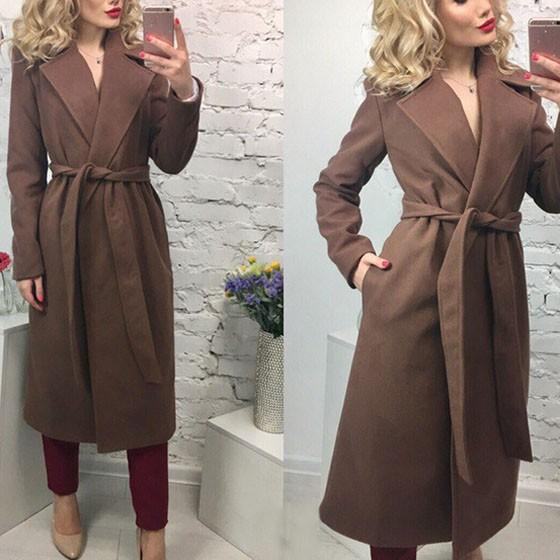 Brown Sashes Turndown Collar Long Sleeve Fashion Wool Coat