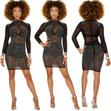 ByChicStyle Casual Women Long Sleeves Bodycon Rhinestones Club Party Cocktail Evening Mini Dress