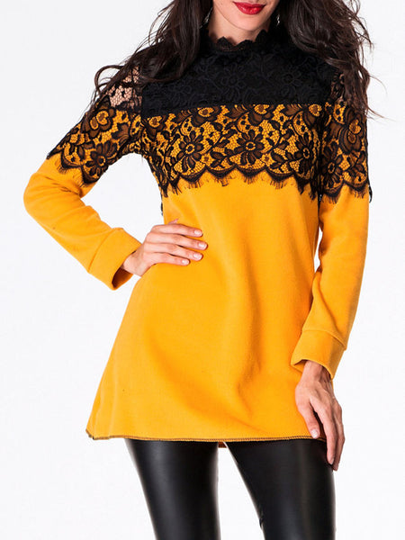 Band Collar Lace Patchwork Long-sleeve-t-shirt - Bychicstyle.com