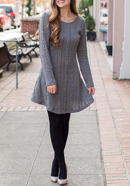 Grey Patchwork Draped Round Neck Casual Pullover Sweater