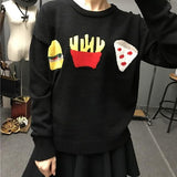 ByChicStyle Black Cartoon Pattern Round Neck Streetwear Wool Pullover Sweater