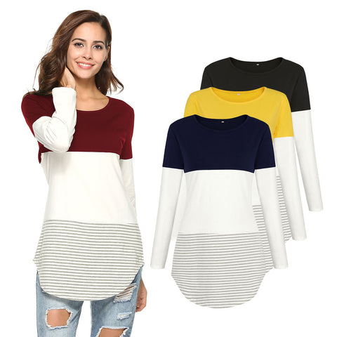 Casual Women's Casual Long Sleeve T-Shirt Blouses Color Block Tunic Top