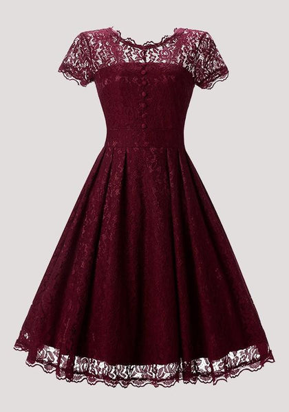 Red Patchwork Lace Pleated Buttons Round Neck Vintage Midi Dress