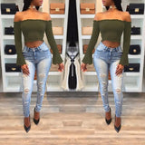 Army Green Ruffle Midriff Boat Neck Long Sleeve Fashion Blouse