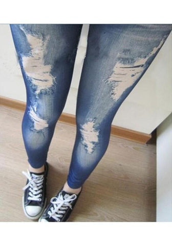 Blue Ripped Elastic Waist High Waisted Fashion Skinny Leggings