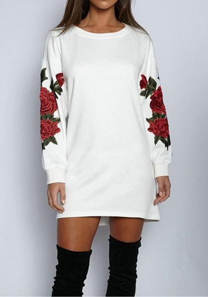 White Floral Embroidery Long Sleeve Casual Long Pullover Sweatshirt
