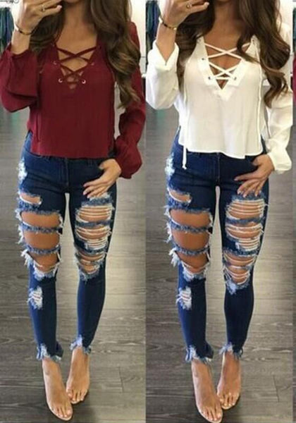 Blue Plain Cut Out High Waisted Streetwear Spandex Long Jeans