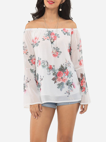 Floral Printed Loose Fitting Off Shoulder Long-sleeve-t-shirt - Bychicstyle.com