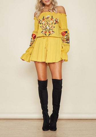 Yellow Floral Ruffle Embroidery High Waisted Off Shoulder Homecoming Mexican Boho Short Romper Jumpsuit