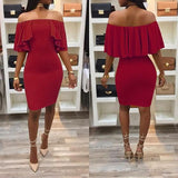 ByChicStyle Red Ruffle Off Shoulder Backless Irregular Party Boat Neck Fashion Midi Dress
