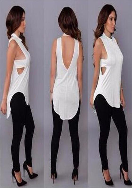 White Plain Cut Out Irregular Backless High Neck Sleeveless T-Shirt