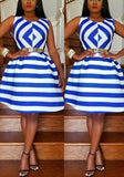 ByChicStyle Blue-White Striped Pleated Round Neck Sleeveless A-line Elegant Midi Dress