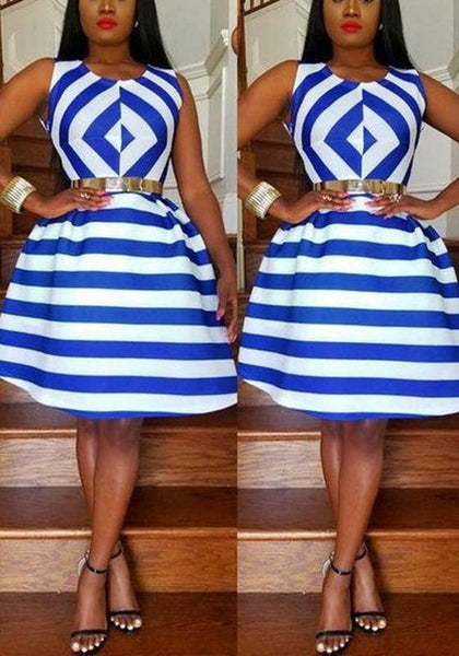 Blue-White Striped Pleated Round Neck Sleeveless A-line Elegant Midi Dress