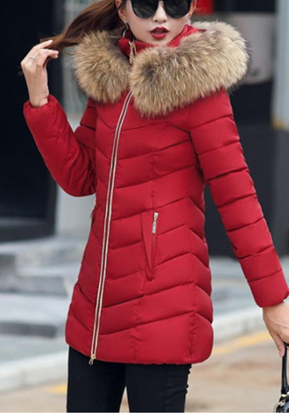 Red Patchwork Fur Hooded Zipper Long Sleeve Casual Coat