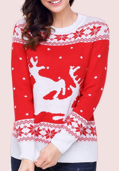 Red Floral Print Round Neck Long Sleeve Pullover Sweater