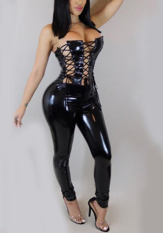 Black Cross Cut Out Lace-up Off Shoulder Backless Vinyl Latex Club Long Jumpsuit
