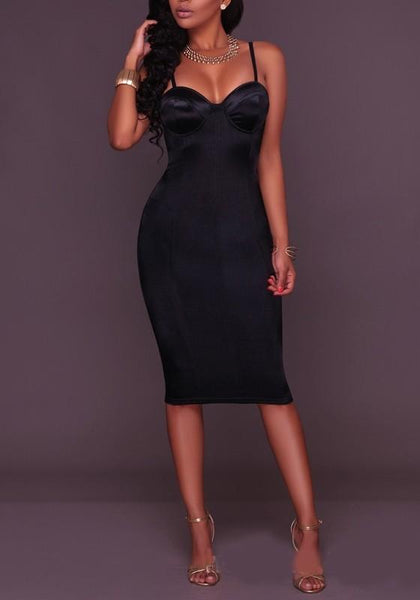 Black Side Spaghetti Bodycon Prom Evening Party Midi Dress