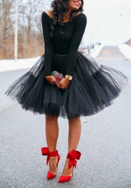 Black Grenadine Pleated Fluffy Puffy High Waisted Tutu Skater Homecoming Cute Midi Skirt
