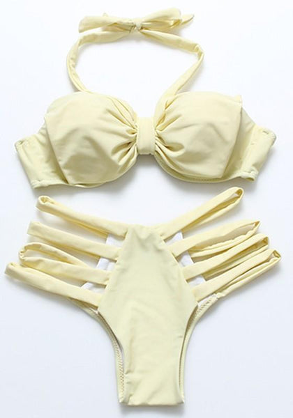 Yellow Two Piece Cut Out Tie Back Bow Bikini Swimwear