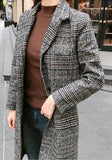 ByChicStyle Grey Plaid Buttons Pockets Slit Turndown Collar Long Sleeve Thick Coat